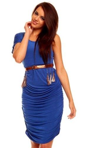 59b4890914a3 Přiléhavé modré šaty s páskem
