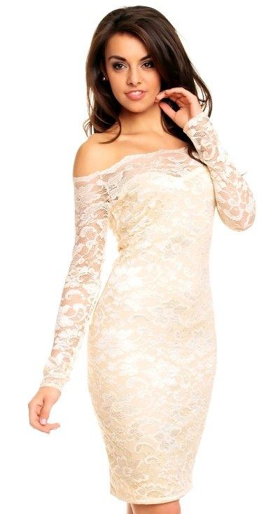 Krajkové společenské šaty s rukávy dd392ecc064