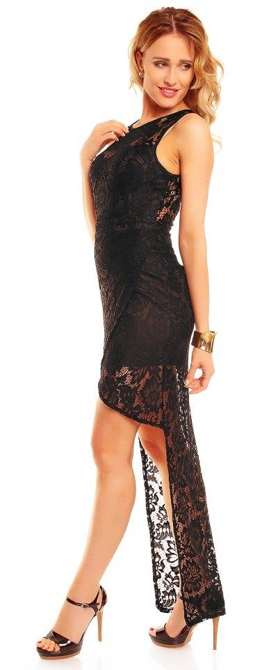 b6c255c68a7 Dlouhé černé krajkové šaty na ples - Butik Radost