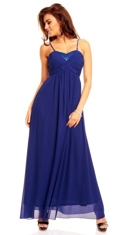 Francouzské modré plesové šaty - Butik Radost 8d5d0b0a10