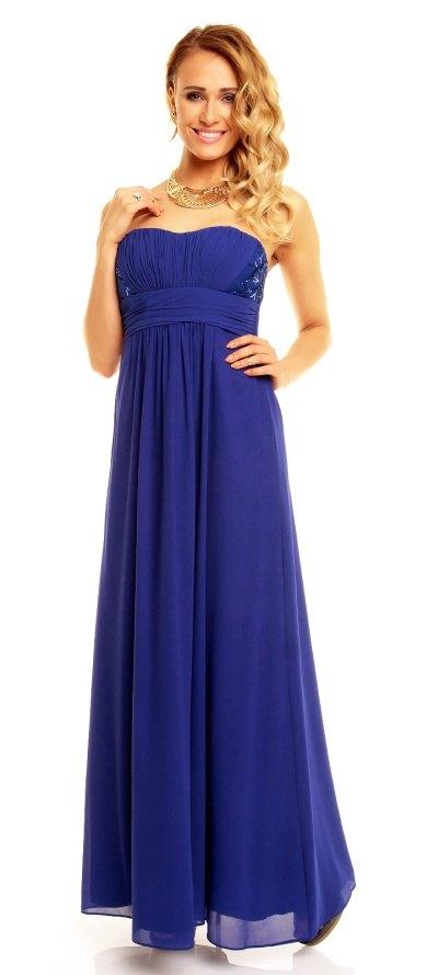 dfa2f2c44e2b Luxusní modré plesové šaty Paříž - Butik Radost