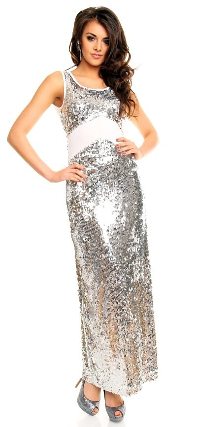 92d2e729609 Stříbrné plesové šaty dlouhé - Butik Radost