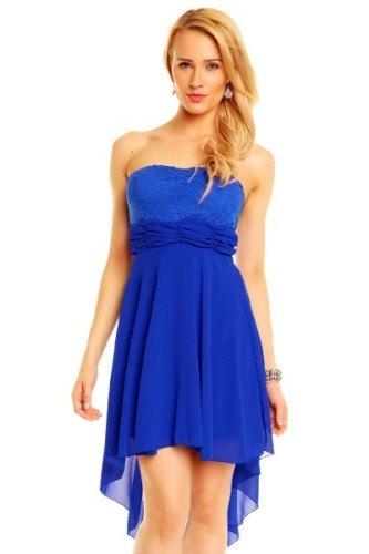 Výrazné modré společenské šaty