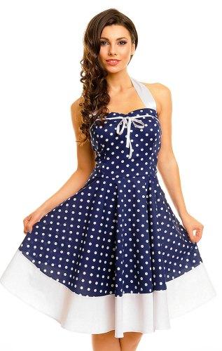 Modré retro šaty s puntíky