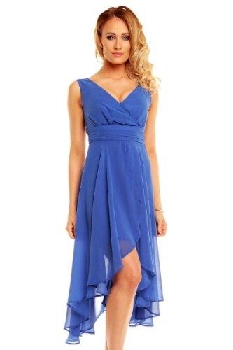 Rafinované modré plesové šaty