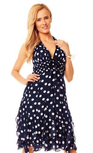 Okouzlující šifónové šaty s puntíky