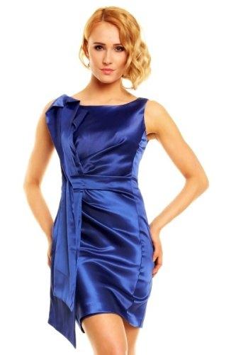 Modré saténové plesové šaty Paříž - Butik Radost 2b80d01c73