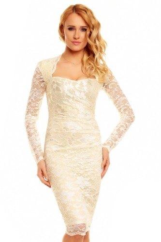 55683ec9230 Krajkové plesové šaty s rukávem - Butik Radost