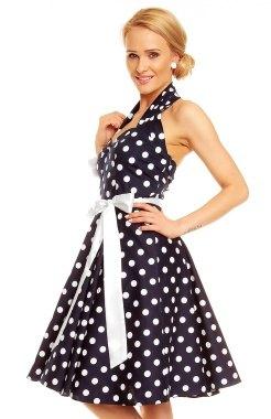 Tmavomodré puntíkaté retro šaty