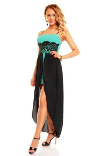 Tyrkysové šaty s černou krajkou a šifónem