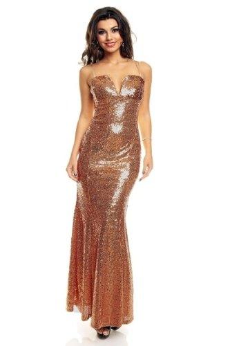 Dlouhé zlaté šaty na ples